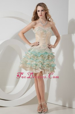 A-line Sweetheart Beading Homecoming Dress Champagne and Aqua
