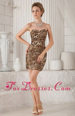Sweetheart Mini-length Leopard Nightclub Dress
