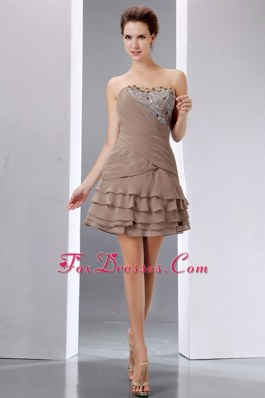 Brown Strapless Mini-length Beading and Sequins Homecoming Dress