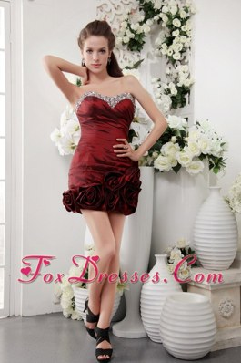 Sweetheart Short Taffeta Beading Wine Red Homecoming Dress