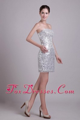 Silver Column Strapless Short Sequins Cocktail Dress