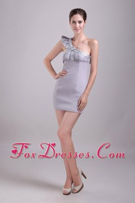 One-shoulder mini-length Rhinestone Cocktail Dress Grey