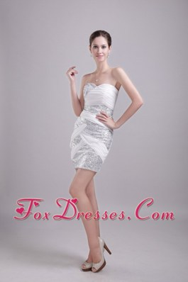 White Sweetheart Mini-length Sequin Ruche Cocktail Dress