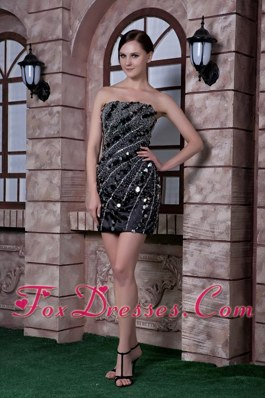 Strapless Taffeta Sequins and Beading Black Cocktail Dress