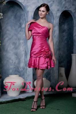 Hot Pink Strapless Mini-length Cocktail Dress