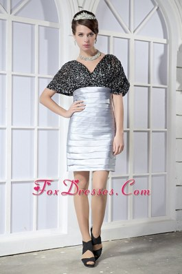 Black and Silver V-neck Mini-length Graduation Dres