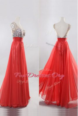 Romantic Sleeveless Floor Length Beading Zipper Prom Gown with Coral Red