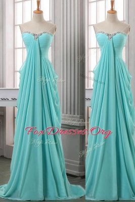 Delicate Turquoise Column/Sheath Chiffon Sweetheart Sleeveless Ruching With Train Zipper Evening Dress Brush Train