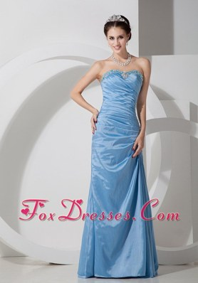Long Baby Blue Beading Column Sweetheart Prom Evening Dress