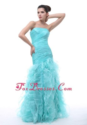 2013 Beautiful Ruffle Mermaid Light Blue Pageant Celebrity Dress