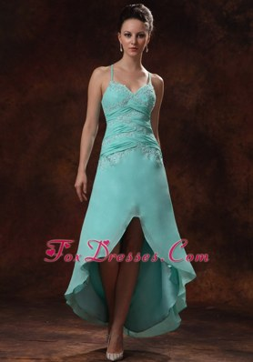 Appliques and Ruching Spaghetti Straps High-low Turquoise Prom Dress
