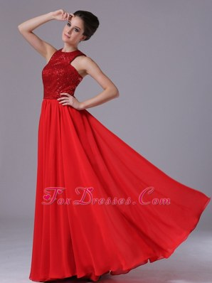 High-Neck Paillette Empire Red Cheap Pageant Dress