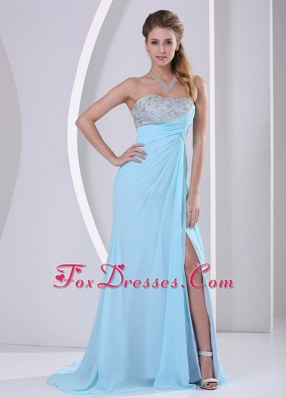 Beading Empire Strapless Aque Blue Pageant Evening Dress