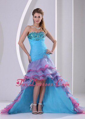 Blue Mermaid Beading Sweetheart High-low Pageant Dress