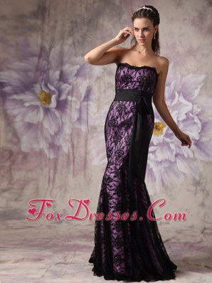 Lace Mermaid Strapless Brush Train Purple and Black Pageant Dress