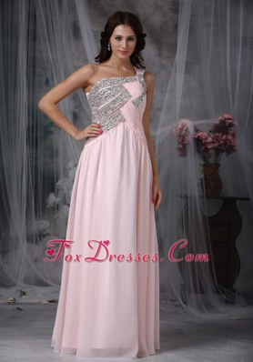 Cute Empire One Shoulder Baby Pink Long Beading Prom Dress