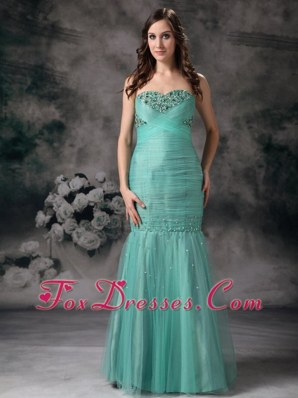 Mermaid Sweetheart Turquoise Beading 2013 Evening Dress