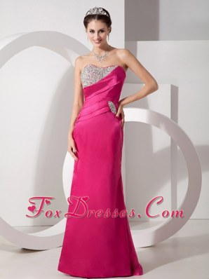 Column Sweetheart Hot Pink Brush Train Beading Prom Evening Dress