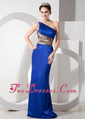 One Shoulder Brush Train Blue Column 2013 Evening Dress
