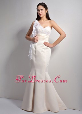 Mermaid One Shoulder Long Off White Pageant Evening Dress