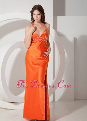 2013 Orange Red Column Halter Beading Prom Evening Dress