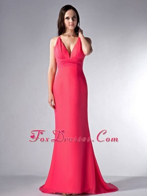 2013 Red Prom Evening Dress Cloumn V-neck Long Chiffon