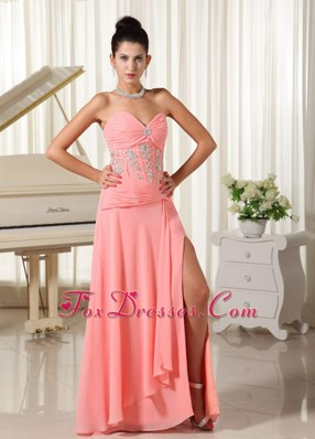 High Slit Prom Evening Dress Watermelon Sweetheart Beading