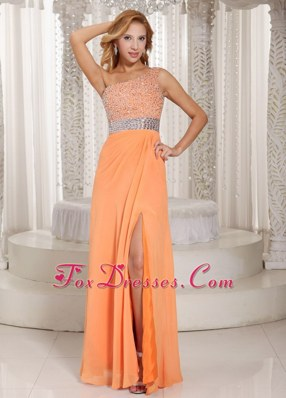 High Slit One Shoulder Orange Beading 2013 Prom Evening Dress