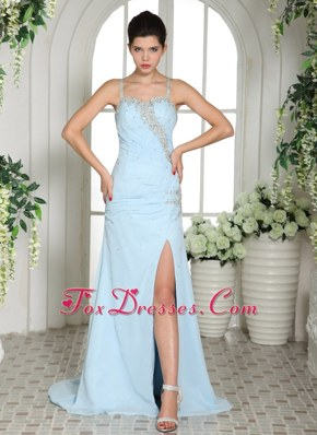 Light Blue Prom Evening Dress High Slit Spaghetti Straps Beading