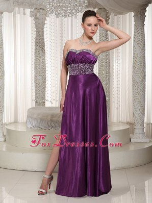 Simple Eggplant Purple High Slit Beading Prom Evening Dress