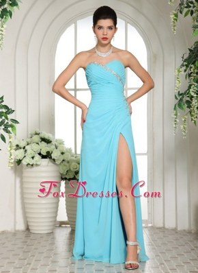 Aqua Blue 2013 Prom Evening Dress High Slit Sweetheart Ruche