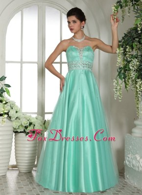 Custom Made Apple Green Sweetheart Beading Prom Evening Dress