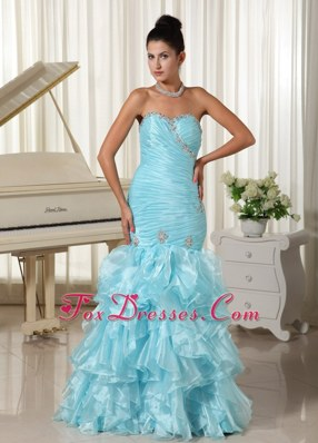2013 Mermaid Prom Evening Dress Ruche and Ruffles Baby Blue