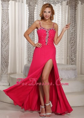 Wholesale Spaghetti Straps High Slit Beading Prom Evening Dress