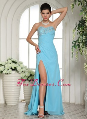 High Slit Prom Celebrity Dress Sweetheart Beaded For Aqua Blue
