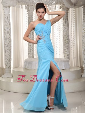Aqua Column One Shoulder Beading 2013 Prom Celebrity Dress