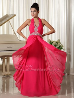 Halter Coral Red Prom Celebrity Dress Chiffon Appliques