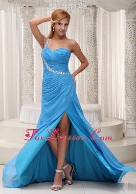 Baby Blue One Shoulder High Slit Prom Celebrity Dress With Beading
