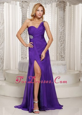 2013 Eggplant Purple Prom Celebrity Dress High Slit One Shoulder