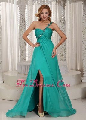 Turquoise Prom Celebrity Dress One Shoulder High Slit Ruche