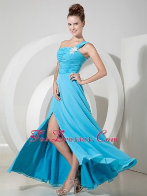 Baby Blue Empire Prom Celebrity Dress One Shoulder Chiffon Ruche