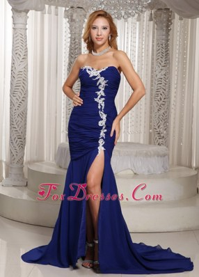 Mermaid Royal Blue Prom Dress With Sweetheart Ruche Appliques