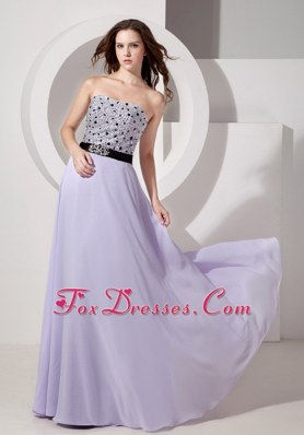Lilac Prom Pageant Dress Empire Strapless Long Beading