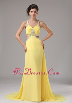 Sexy Straps Yellow Prom Dress With Beading In Spring