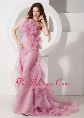 Fashion Mermaid Strapless Long Organza Prom Pageant Dress