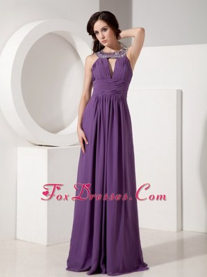 Purple Prom Dress Empire Scoop Chiffon Beading In Party