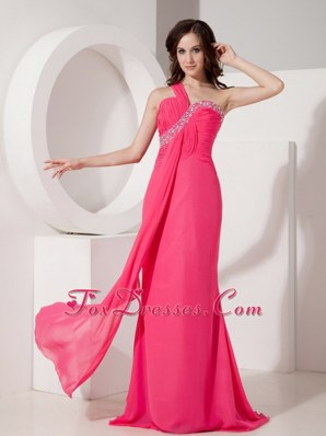 Hot Pink Column Prom Pageant Dress One Shoulder Beading