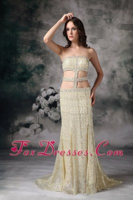 Gold Prom Evening Dress Empire Strapless Long Sequin Beading