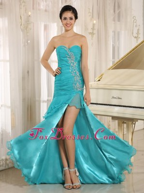 Teal High-low Sweetheart Appliques Prom Evening Dress 2013