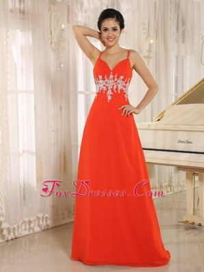 Cute Straps Appliques Long Prom Pageant Dress In Spring